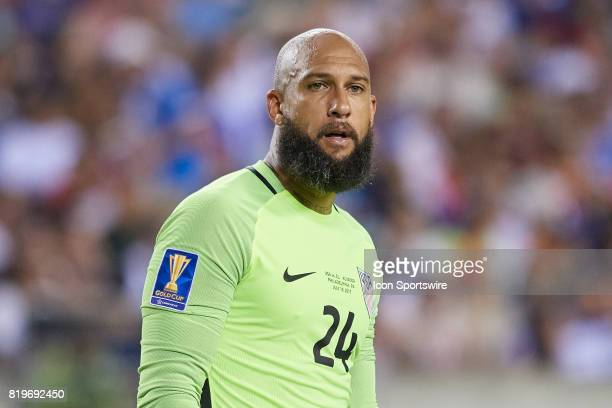 the United States goalkeeper Tim Howard looks on during a CONCACAF Gold Cup Quarterfinal match between the United States v El Salvador at Lincoln...