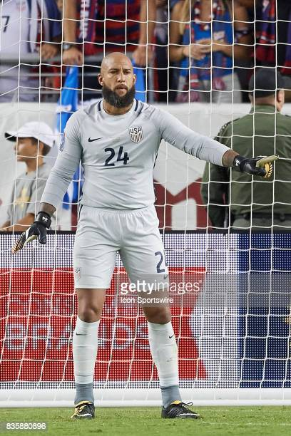 the United States goalkeeper Tim Howard looks on during the CONCACAF Gold Cup Final match between the United States v Jamaica at Levi's Stadium on...