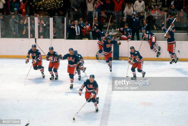 The United States hockey team celebrates after winning a game at the Winter Olympics circa 1980 at the Olympic Center in Lake Placid New York