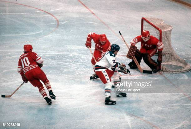 The United States Hockey team competes against the Soviet Union hockey team during a metal round game of the Winter Olympics February 22 1980 at the...