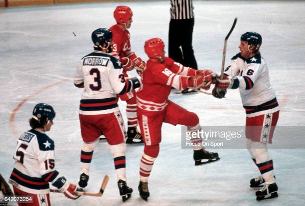 The United States Hockey team competes against the Soviet Union hockey team during a metal round game of the Winter Olympics February 22, 1980 at the...