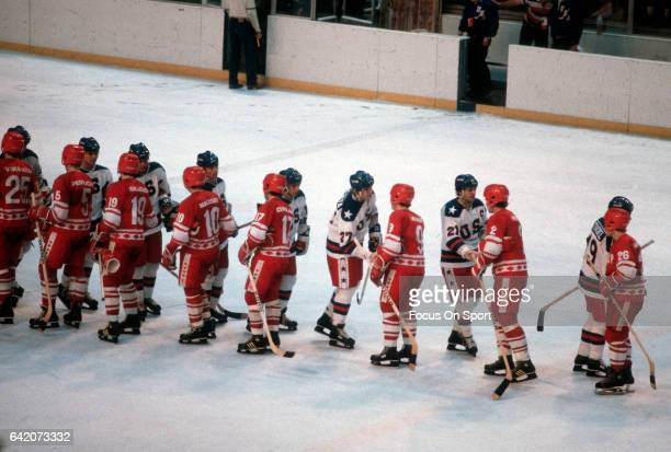 The United States Hockey team shakes hands with the Soviet Union after a metal round game of the Winter Olympics February 22 1980 at the Olympic...