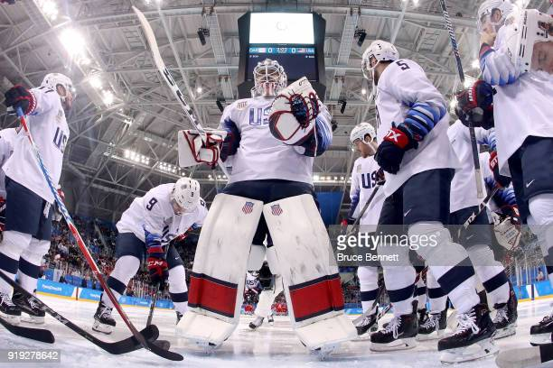 The United States huddle up prior to the Men's Ice Hockey Preliminary Round Group B game against Olympic Athletes from Russia on day eight of the...