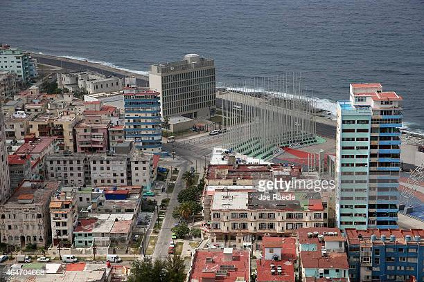 The United States Interests Section is seen along the Malecon as Cuba and the US governments sit down for a second round of discussions to restore...