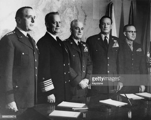 The United States Joint Chiefs of Staff have their annual meeting in Washington DC 15th February 1960 From left to right General Lyman Lemnitzer of...