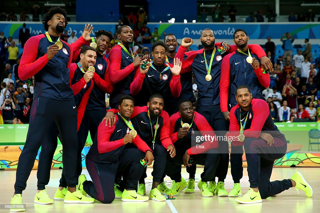 The United States Men's Basketball team celebrates with their gold medals following the Men's Gold medal game on Day 16 of the Rio 2016 Olympic Games at Carioca Arena 1 on August 21, 2016 in Rio de Janeiro, Brazil.