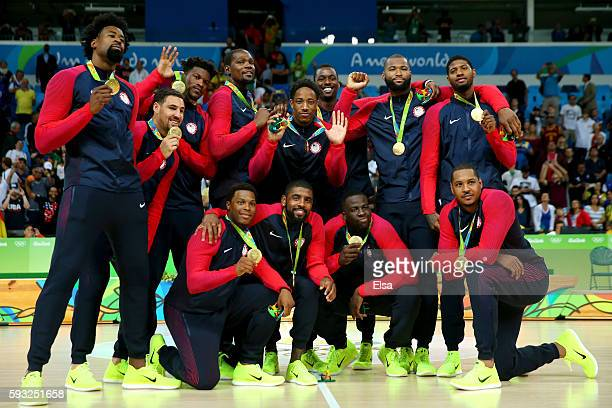 The United States Men's Basketball team celebrates with their gold medals following the Men's Gold medal game on Day 16 of the Rio 2016 Olympic Games...
