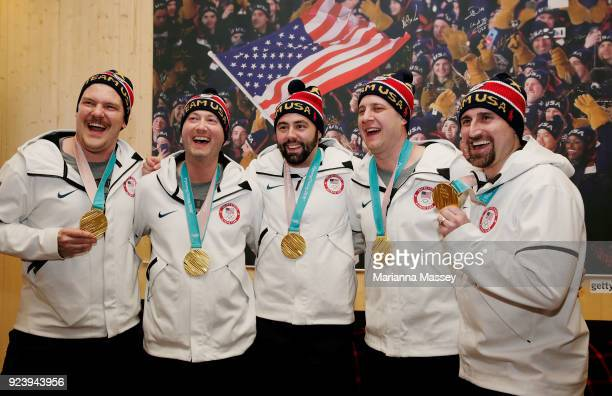 The United States Men's Curling Gold Medalists Matt Hamilton John Shuster John Landsteiner Tyler George and Joe Polo on February 24 2018 in...