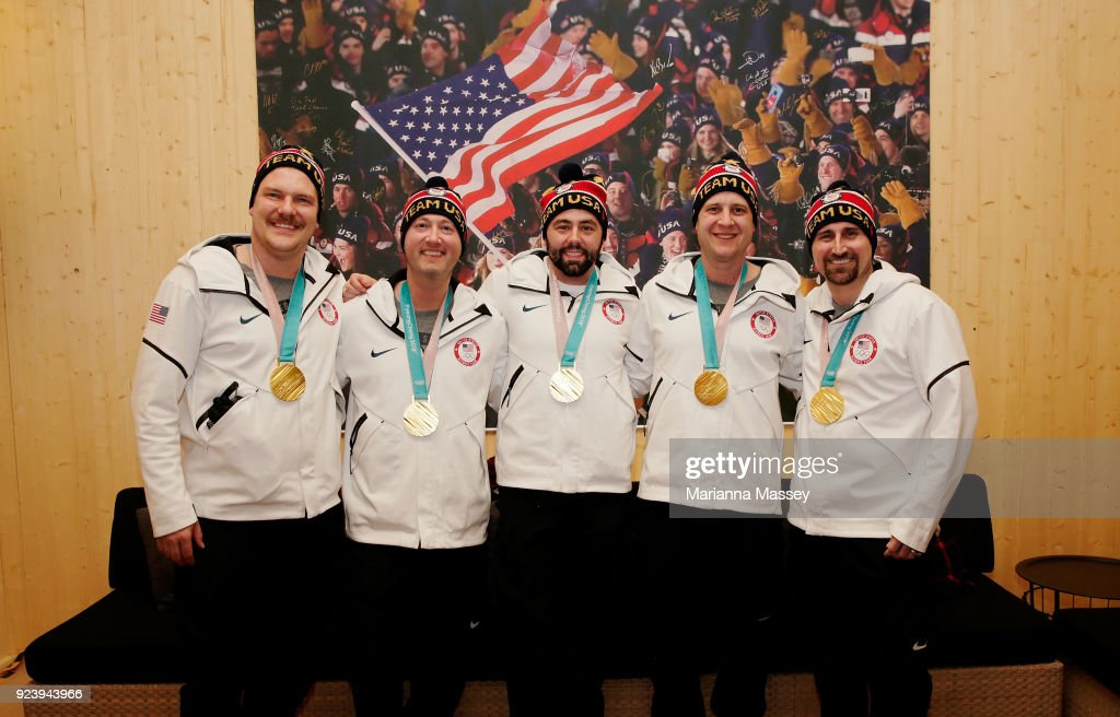 The United States Men's Curling Gold Medalists Matt Hamilton John Shuster, John Landsteiner, Tyler George and Joe Polo on February 24, 2018 in Pyeongchang-gun, South Korea.
