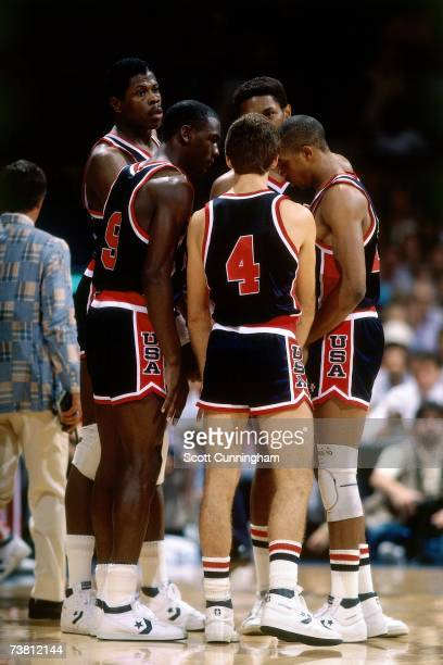 The United States Men's National Basketball Team discuss strategy at the 1984 Summer Olympics in Los Angeles California NOTE TO USER User expressly...