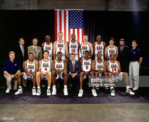 The United States Men's National Basketball Team pose for a photo at the 1992 Summer Olympics in Barcelona, Spain. NOTE TO USER: User expressly...
