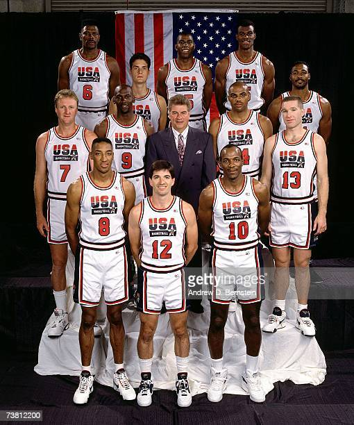The United States Men's National Basketball Team pose for a photo at the 1992 Summer Olympics in Barcelona Spain NOTE TO USER User expressly...