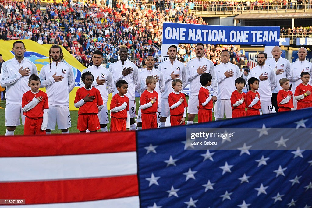 The United States Men's National Team stands on the field for the national anthem before a the game against Guatemala during the FIFA 2018 World Cup qualifier on March 29, 2016 at MAPFRE Stadium in Columbus, Ohio.