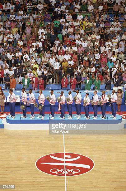 The United States Men's Olympic Basketball Team receive their gold medals after defeating Croatia in the gold medal round at the 1992 Summer Olympics...