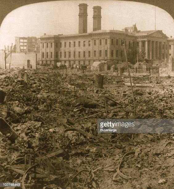 The United States Mint known as the Granite Lady stands lonesome amongst the rubble of the San Francisco earthquake April 1906 Its specially laid...