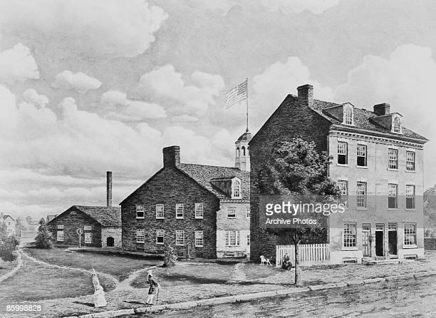 The United States Mint on Seventh Street Philadelphia circa 1820 Known as 'Ye Olde Mint' this was the first building to house the Philadelphia Mint...