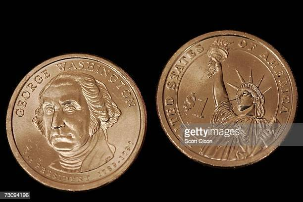 The United States Mint showcases the new Presidential series $1 coins featuring the Statue of Liberty on the reverse on January 24 2007 in Chicago...