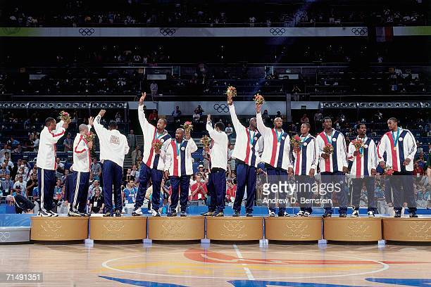 The United States National Team celebrate winning their Gold Medals at the 2000 Summer Olympics Medal Ceremony in Sydney Australia NOTE TO USER User...