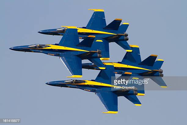 CONTENT] The United States Navy Demonstration Team The Blue Angels perform a flypast at Naval Air station Patuxent River