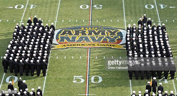 The United States Navy Midshipmen line up in the stadium before the of the 109th Army Navy Game on December 6, 2008 at Lincoln Financial Field in...