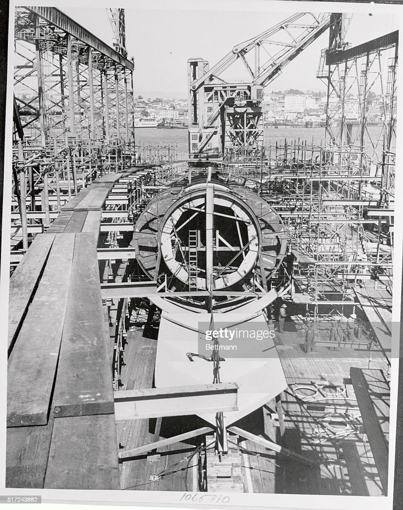 The USS Grayback Being Constructed : News Photo