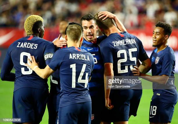 The United States of America Men's National Team celebrates a goal during the international friendly between the United States Men's National Team...