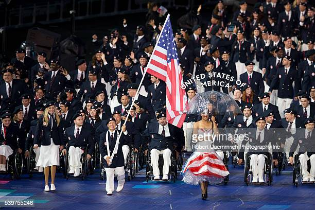 The United States of America team enters the stadium at the opening ceremony of the 2012 London Paralympic Games.