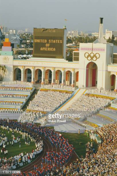 The United States of America Team parade around the stadium infield during the opening ceremony for the XXIII Olympic Games on 28 July 1984 at the...