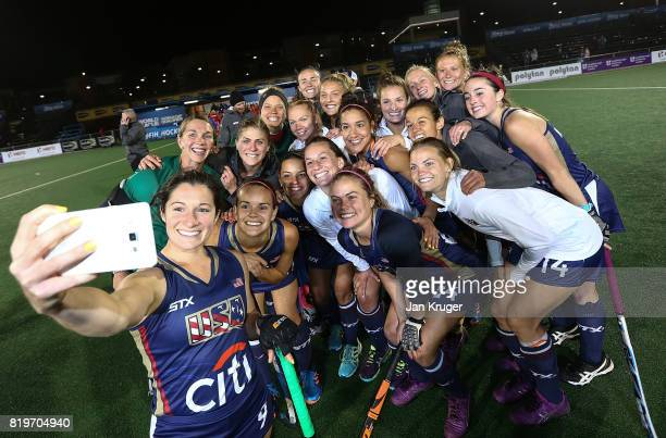 The United States of America team poses for a selfie after the shoot out during day 7 of the FIH Hockey World League Women's Semi Finals semi final...