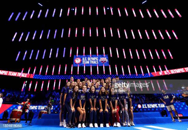 The United States Olympic Swimming team poses for a portrait during Day Eight of the 2021 U.S. Olympic Team Swimming Trials at CHI Health Center on...