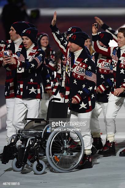 The United States Olympic team enters during the Opening Ceremony of the Sochi 2014 Winter Olympics at Fisht Olympic Stadium on February 7 2014 in...