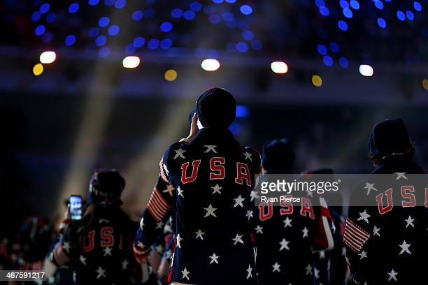 The United States Olympic team enters the stadium during the Opening Ceremony of the Sochi 2014 Winter Olympics at Fisht Olympic Stadium on February...