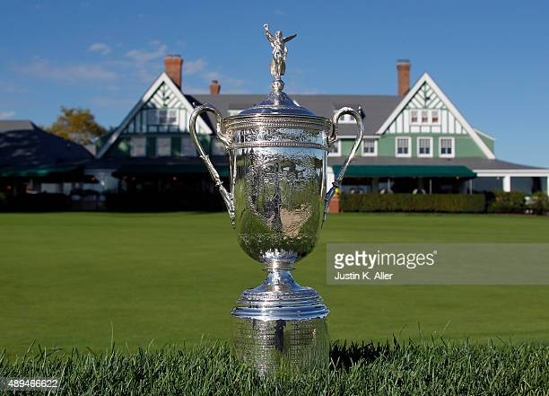 The United States Open Championship Trophy is seen in front of the clubhouse during the 2016 US Open Media Day at Oakmont Country Club on September...