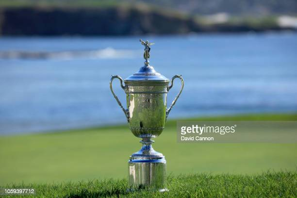 The United States Open Championship trophy placed behind the green on the 18th hole during the USGA 2019 US Open Championship media preview day at...