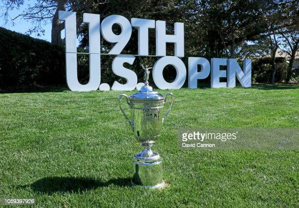 The United States Open Championship trophy placed beside the first tee during the USGA 2019 US Open Championship media preview day at Pebble Beach...