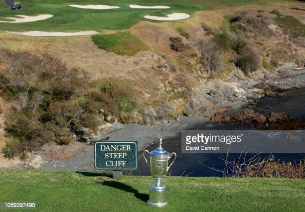 The United States Open Championship trophy placed on the cliff edge of the eighth fairway during the USGA 2019 US Open Championship media preview day...
