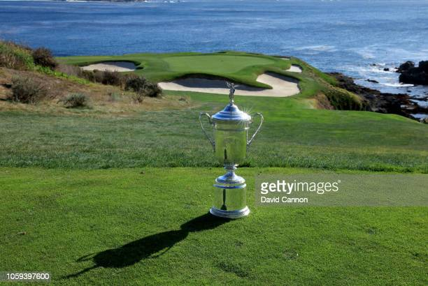 The United States Open Championship trophy placed on the par 3 seventh tee during the USGA 2019 US Open Championship media preview day at Pebble...