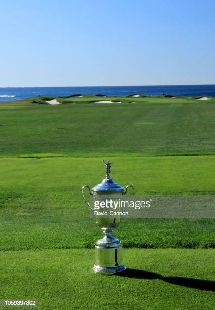 The United States Open Championship trophy placed on the tee on the par 3 17th hole during the USGA 2019 US Open Championship media preview day at...