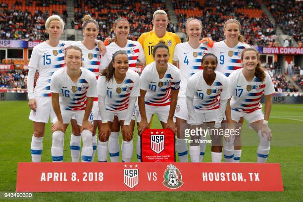 The United States poses for a photo before the game against the Mexico at BBVA Compass Stadium on April 8 2018 in Houston Texas