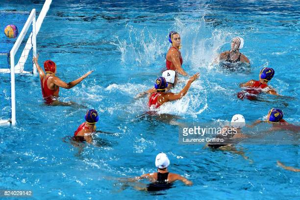 The United States score a goal during the Women's Water Polo gold medal match between the United States and Spain on day fifteen of the Budapest 2017...