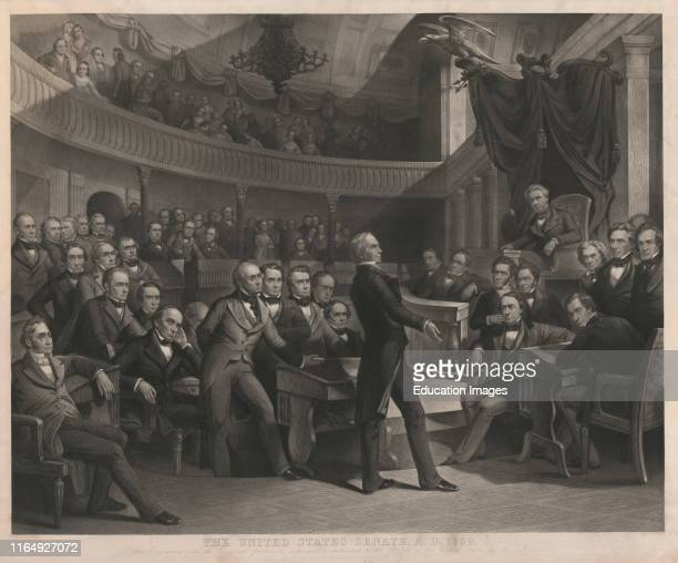 The United States Senate, AD 1850, Henry Clay Speaking about the Compromise of 1850 in the Old Senate Chamber, Drawn by PF Rothermel, engraved by R...