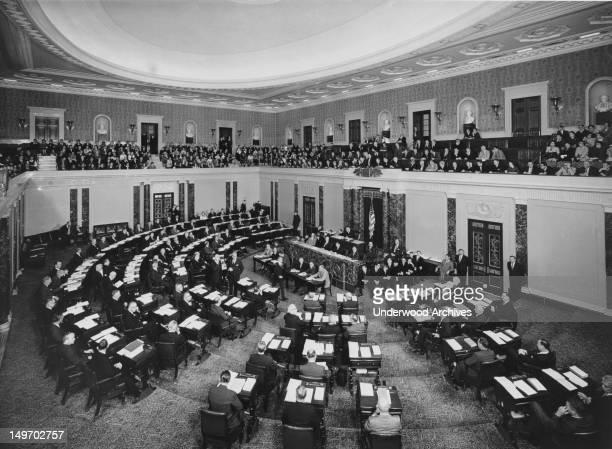 The United States Senate in session Washington DC late 1950s