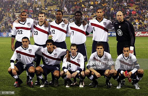 The United States soccer team poses before its World Cup qualifier match against Jamaica at Crew Stadium on November 17 2004 in Columbus Ohio