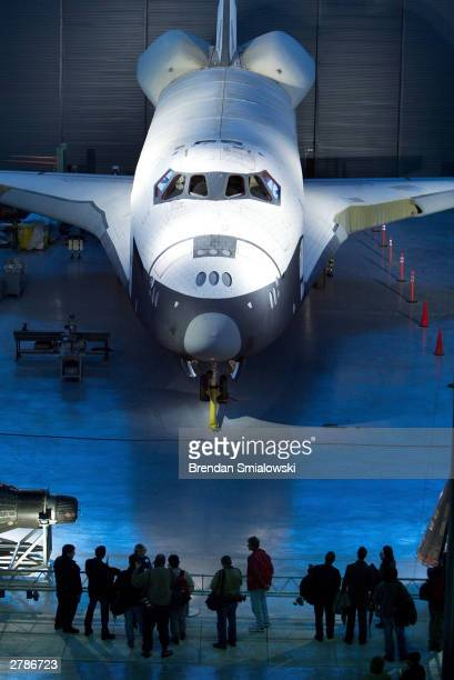 The United States Space Shuttle Enterprise is one of many flying machines in the new Steven F UdvarHazy Center the Smithsonian's new addition to the...