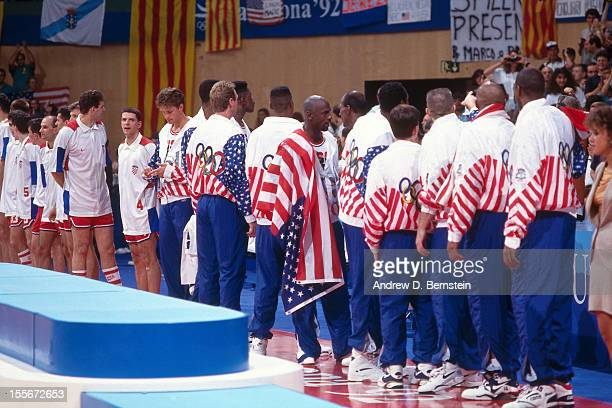The United States stand following the Gold Medal Basketball game between the United States and Croatia at the 1992 Olympics on August 8 1992 at the...