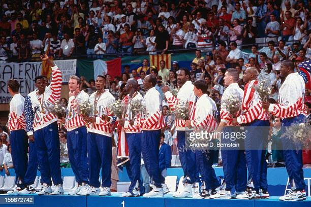 The United States stands on the podium following the Gold Medal Basketball game between the United States and Croatia at the 1992 Olympics on August...