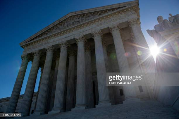 The United states Supreme Court is seen on April 15 2019 in Washington DC The US Supreme Court takes up Monday the government's refusal to register a...