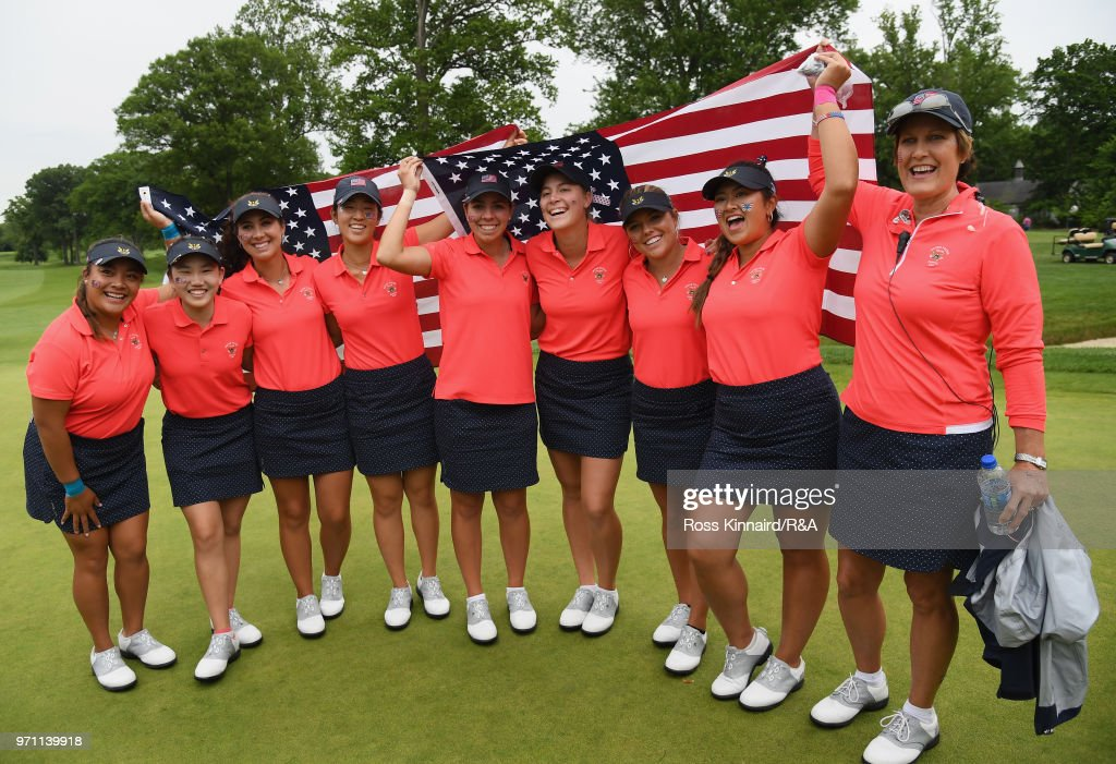 The United States team and Captain Virginia Derby Grimes celebrate their 17-3 win over the Great Britain and Ireland team on day three of the 2018 Curtis Cup Match at Quaker Ridge Golf Club on June 10, 2018 in Scarsdale, New York.