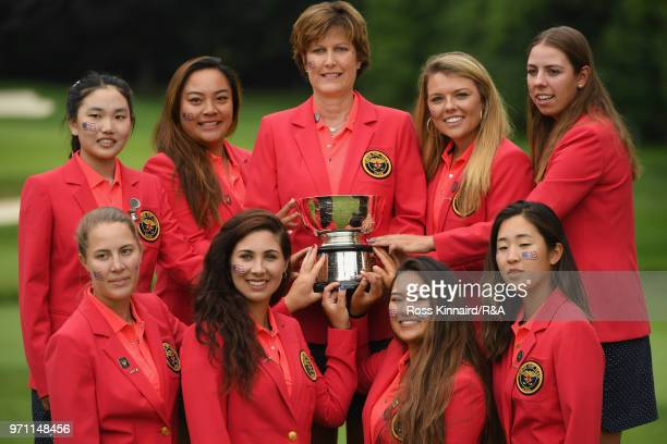 The United States team and Captain Virginia Derby Grimes celebrate with the Curtis Cup trophy after their 173 win over the Great Britain and Ireland...