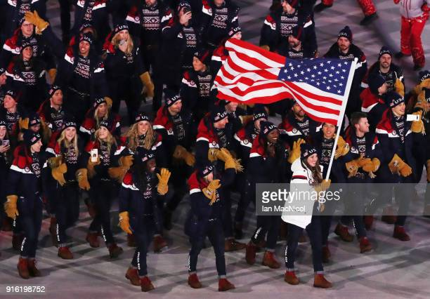 The United States team are seen during the Opening Ceremony of the PyeongChang 2018 Winter Olympic Games at PyeongChang Olympic Stadium on February 9...